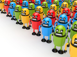 Crowd of colorful robots
