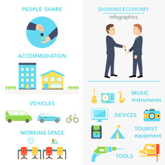 Sharing Economy and Consumption Infographics Set