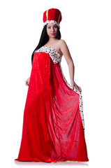 Queen in red dress isolated on the white background
