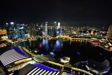 Singapore city bay area night view