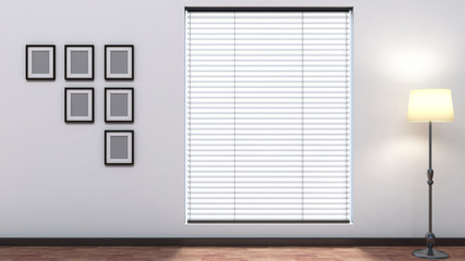 white empty interior with blinds