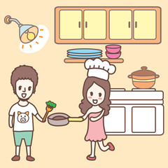 cartoon cooking in the kitchen