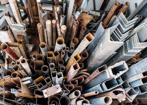 canvas print picture Piles of rusty scrap metal