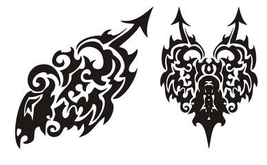 Tribal black dragon with an arrow and dragon heart