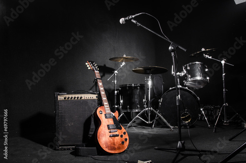 Set of musical instruments during concert - 69797666