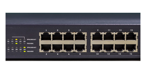 part of Network switch with 16 ports on white background, isolat