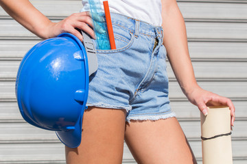 Construction worker ready for her job.