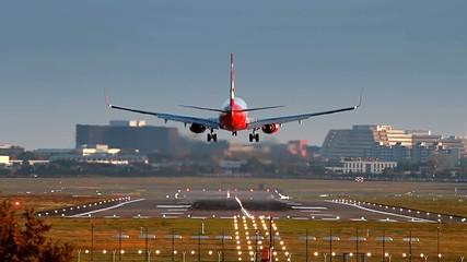 Airliner is Landing at Hamburg Airport