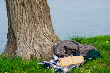 Abandoned book and cover waiting in nature
