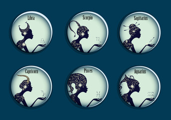 Zodiac signs in a circle frames set