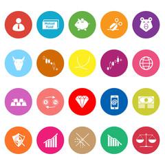 Stock market flat icons on white background
