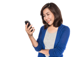 Woman using app on mobile phone