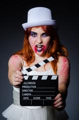 Satan halloween concept with movie clapper board