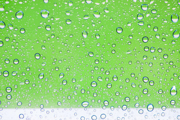 Rain and glass with  background color.