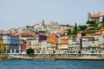 View of Porto in Portugal on bright summer day