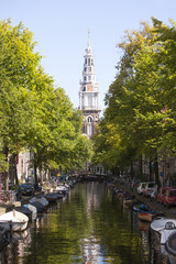 zuiderkerk and boats in amsterdam