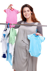 pregnant woman making shopping for a baby