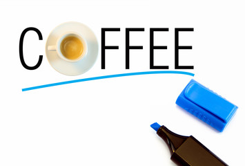 Coffee text with coffee cup underlined with blue marker