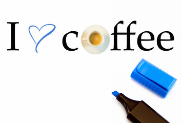 I love Coffee text with coffee cup and blue heart shape