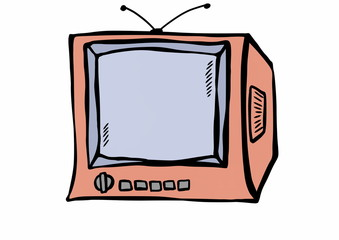 doodle old wooden TV