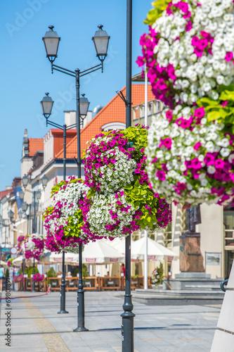 Fototapety, obrazy : Flower arrangement on street lamp in the background the market s