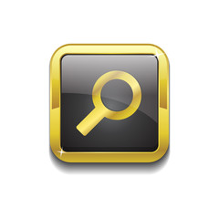 Search Square Golden Black Vector Web Button Icon