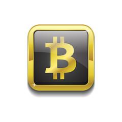 Bit Coin Sign Shiny Gold Vector Icon Button