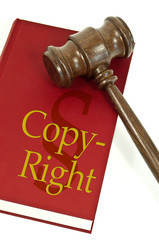 Richterhammer mit Buch copyright