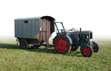 historic tractor with trailer