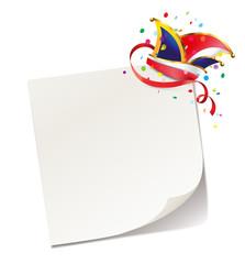 Notizzettel mit Konfetti und Narrenkappe
