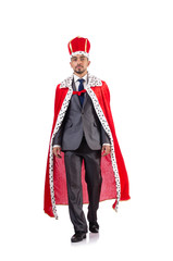 King businessman isolated on the white