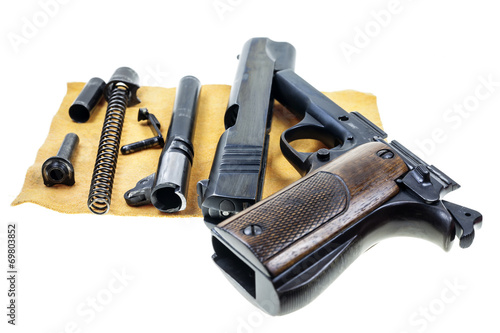 Fotobehang Jacht Seperate parts handgun