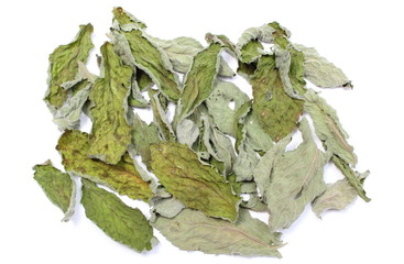 Dried leaves of mint on white background