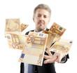 Businessman throwing euro