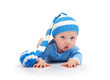 Baby in a striped hat on a white background