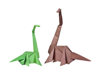 Origami. Paper figures of dinosaurs