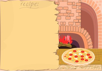 Background with recipe, oven and pizza
