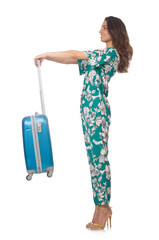 Woman with suitcase ready for vacation