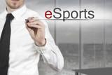 businessman writing esports poster
