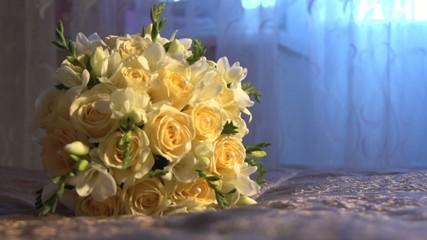 Bridal bouquet lying