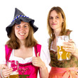 Girl wearing Seppelhut with mother at Oktoberfest