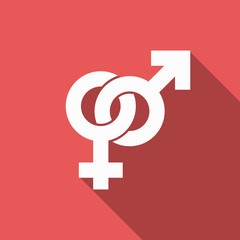 male and female sign icon with long shadow