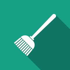 broom icon with long shadow