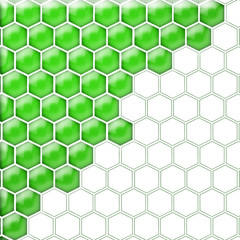 Glass cells green white. Isolated
