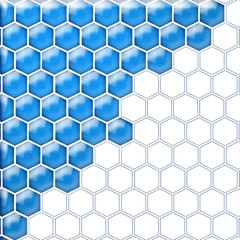 Glass cells blue white. Isolated