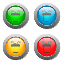 Present icon set on glass buttons