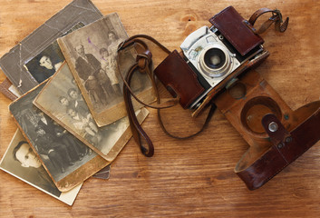 top view of old camera, antique photographs