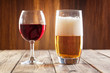 Red wine glass and glass of beer - 69807063