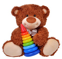 teddy bear with colored pyramid