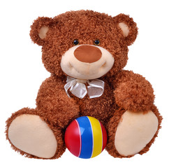 Brown teddy bear with striped ball